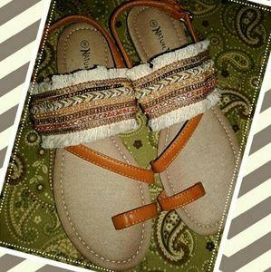 Ladies Sandals,  Size 8 Tan Beaded Sandals